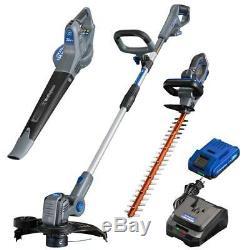 20-Volt Cordless String Trimmer/Edger, Hedge Trimmer, and Leaf Blower (3-Tool) 2