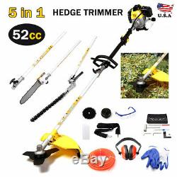 52cc 4 in 1 Hedge Trimmer Multi Tool Garden Chainsaw Petrol Strimmer BrushCutter