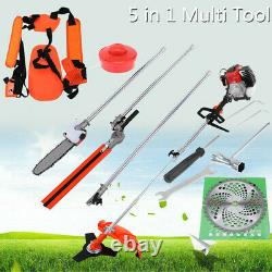 52cc 5 In 1 Petrol Hedge T-rimmer Chainsaw Brush Cutter Pole Saw Outdoor Tools