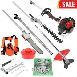 5 In 1 52cc Petrol Hedge Trimmer Chainsaw Brush Cutter Pole Saw Outdoor Tools PN