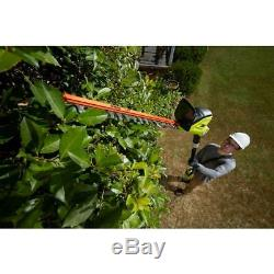 Cordless Pole Hedge Trimmer 40-Volt Lithium-Ion Dual Action Cutting Blade Tool