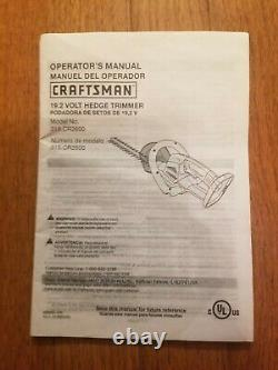 Craftsman C3 19.2v Hedge Trimmer 315. CR2600 Bare tool only
