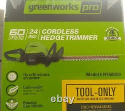 Greenworks Pro 60V Max 24 Dual Cordless Electric Hedge Trimmer New Tool Only