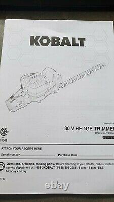 Kobalt 80v Max Cordless Hedge Trimmer Brushless 26 (Tool Only)