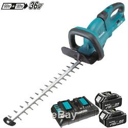 Makita DUH551Z 36V LXT 550mm Hedge Trimmer With 2 x 5Ah BL1850 Batteries, DC18RD