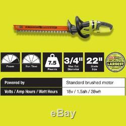 RYOBI Cordless Hedge Trimmer 22 in. 18V Lithium-Ion 2-Action Blades(Tool Only)