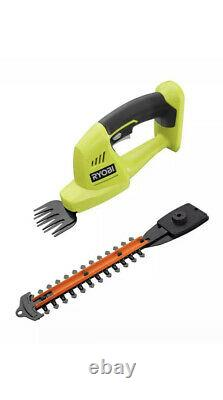 RYOBI Cordless Hedge Trimmer Grass Shear 18-V 5/16 in. Cut Dual Action TOOL ON