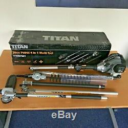 TITAN TTK587GDO 4in1 Multi Tool Strimmer Brush Cutter Hedge Trimmer Pole Saw BOX