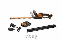 WORX WG261E. 1 18V (20V MAX) Cordless 45cm Hedge Trimmer with 2 Batteries &